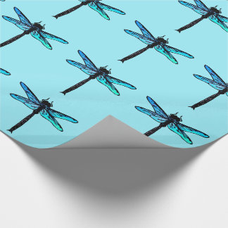 Vintage Japanese Dragonfly, turquoise blue Wrapping Paper