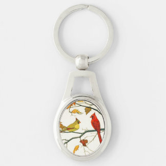 Vintage Japanese drawing, Cardinals on a branch Key Ring