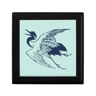 Vintage Japanese Drawing of a Crane, Blue Small Square Gift Box