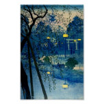 Vintage Japanese Evening Woodblock Art Ukiyo-E Poster