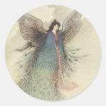 Vintage Japanese Fairy Tale, The Moon Maiden Round Sticker