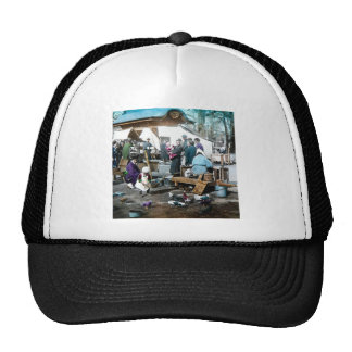 Vintage Japanese Families in the Market  Old Japan Cap