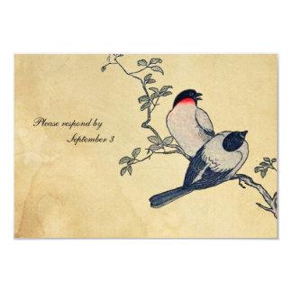 Vintage Japanese Finches rsvp with envelopes 9 Cm X 13 Cm Invitation Card