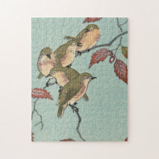 Vintage Japanese Fine Art Green Birds Jigsaw Puzzle