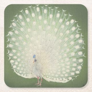 Vintage Japanese Fine Art | Peacock Square Paper Coaster