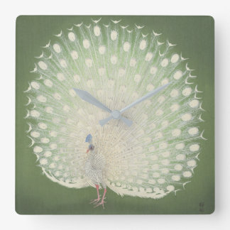 Vintage Japanese Fine Art | Peacock Square Wall Clock