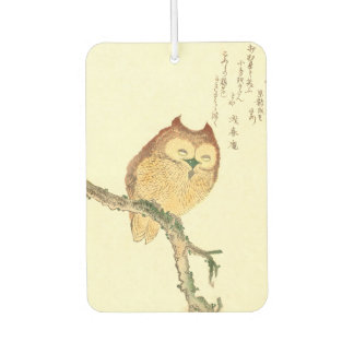 Vintage Japanese Fine Art Print | Owl on a Branch Car Air Freshener