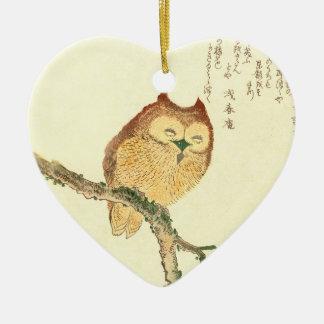 Vintage Japanese Fine Art Print | Owl on a Branch Ceramic Ornament