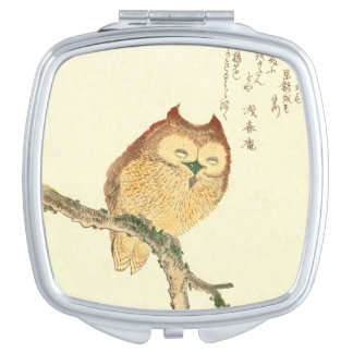 Vintage Japanese Fine Art Print | Owl on a Branch Compact Mirror