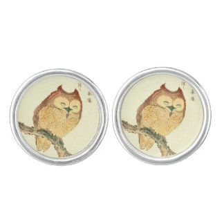 Vintage Japanese Fine Art Print | Owl on a Branch Cuff Links
