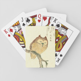 Vintage Japanese Fine Art Print | Owl on a Branch Playing Cards