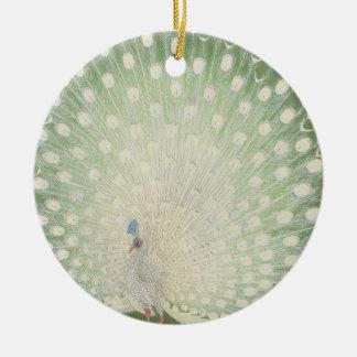 Vintage Japanese Fine Art | White Peacock Ceramic Ornament