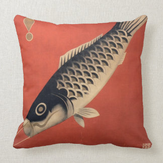 Vintage Japanese fish square pillow