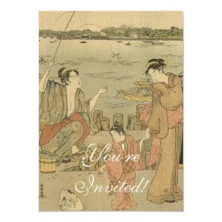 Vintage Japanese Fishing Woodblock Print Card