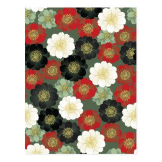 Vintage Japanese Floral Kimono Pattern Post Card