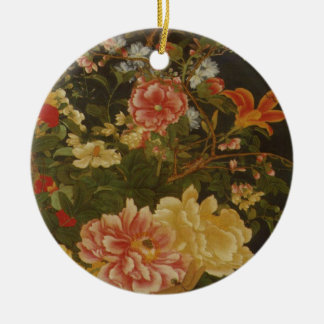 Vintage Japanese Flowers and Insects Round Ceramic Decoration