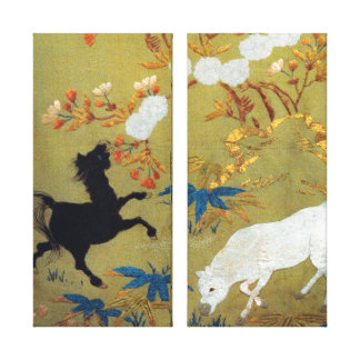 Vintage Japanese Foal and Cherry Blossoms Stretched Canvas Print