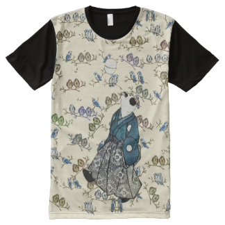 Vintage Japanese Football Cat and Birds Art All-Over Print T-Shirt