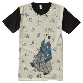 Vintage Japanese Football Cat Bird Audience Art All-Over Print T-Shirt