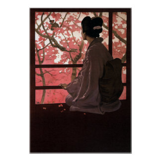 Vintage Japanese Geisha and Cherry Blossoms Poster