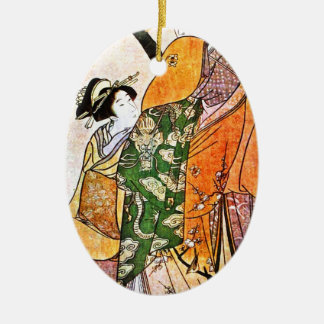 Vintage Japanese Geisha Artwork Ceramic Ornament