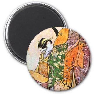 Vintage Japanese Geisha Artwork Magnet