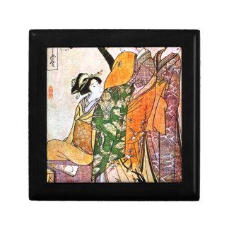 Vintage Japanese Geisha Artwork Small Square Gift Box