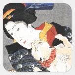 Vintage Japanese Geisha Girl Art Stickers