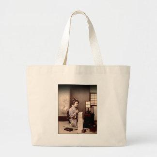 Vintage Japanese Geisha - Letter Writer Large Tote Bag