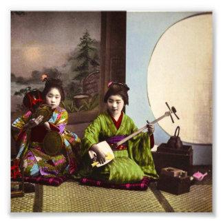 Vintage Japanese Geisha Musical Entertainment Art Photo