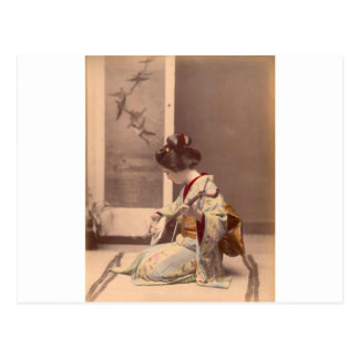 Vintage Japanese geisha playing the shamisen Postcard