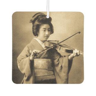 Vintage Japanese Geisha Playing Violin Classic Car Air Freshener