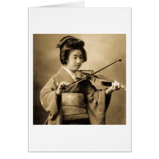 Vintage Japanese Geisha Playing Violin Classic Card