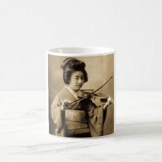 Vintage Japanese Geisha Playing Violin Classic Coffee Mug