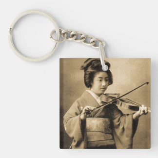 Vintage Japanese Geisha Playing Violin Classic Key Ring