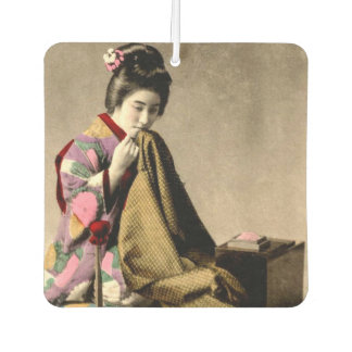 Vintage Japanese Geisha Sewing a Kimono Old Japan Car Air Freshener