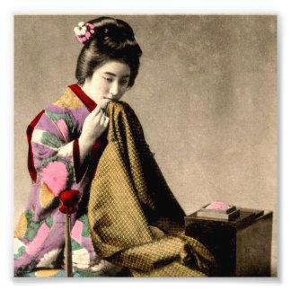 Vintage Japanese Geisha Sewing a Kimono Old Japan Photo Print