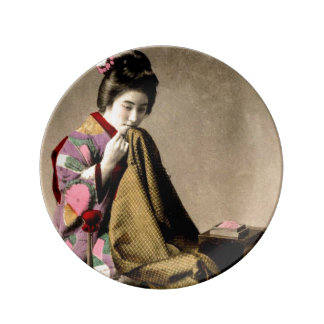 Vintage Japanese Geisha Sewing a Kimono Old Japan Plate