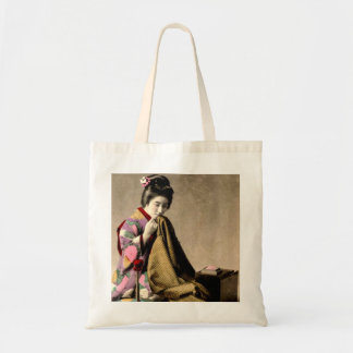 Vintage Japanese Geisha Sewing a Kimono Old Japan Tote Bag