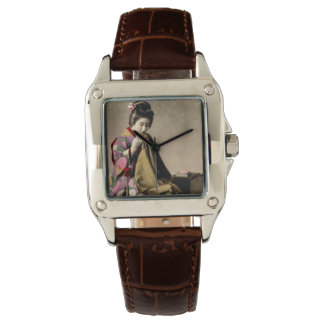 Vintage Japanese Geisha Sewing a Kimono Old Japan Watch