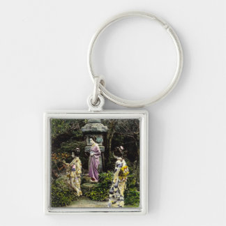 Vintage Japanese Geisha Visiting Park in Old Japan Silver-Colored Square Key Ring