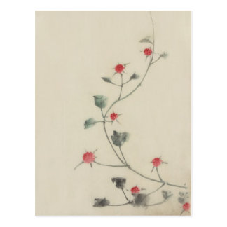 Vintage Japanese Hokusai Red Blossoms on Vine Post Card