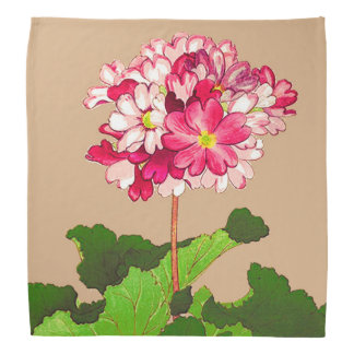 Vintage Japanese Hydrangea. Pink and Green Bandana