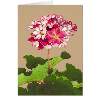 Vintage Japanese Hydrangea. Pink and Green Card