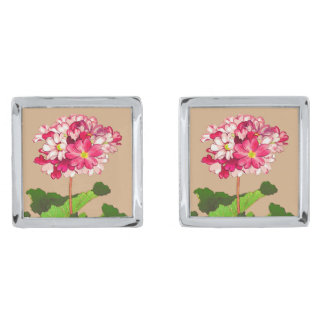 Vintage Japanese Hydrangea. Pink and Green Silver Finish Cuff Links