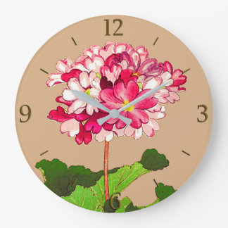 Vintage Japanese Hydrangea. Pink and Green Wall Clocks