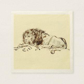 Vintage Japanese Ink Sketch of a Lion Disposable Napkin