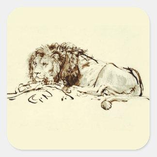 Vintage Japanese Ink Sketch of a Lion Square Sticker