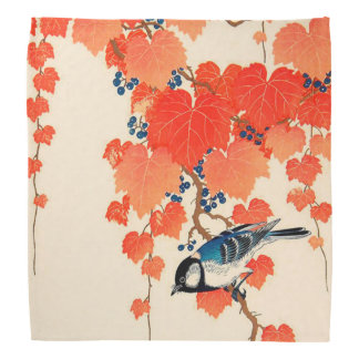 Vintage Japanese Jay Bird and Autumn Grapevine Bandanas