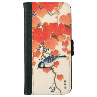Vintage Japanese Jay Bird and Autumn Grapevine iPhone 6 Wallet Case